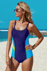 Blue Athletic Color Block Spaghetti Straps One-piece Swimsuit