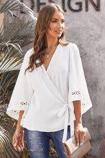 Hvid Hæklet Trim Wrap-bluse