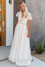 White Fill Your Heart Lace Maxi Dress