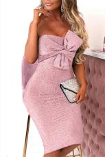 Pink Luxe Glam Knot Front Bandeau Dress Midi Dress
