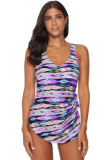 Purple Abstract Print Maillot Swimwear