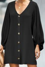 Black Buttoned-down V Neck Billowy Sleeve Dress Shift