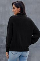 Sêwek Tundleneck Tundleneck Sleeve Long Chunky Batwing Black Oversized