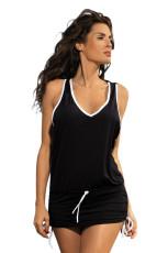 Черное контрастное пляжное платье с трусиками