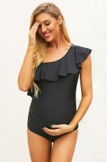 Costum de baie de maternitate cu o umăr din față neagră