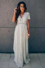 Grey Dilê Xwe Bikin Lace Maxi Dress