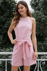 Pink Striped Romper