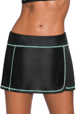 Mint Blue Stitch Trim Black Swim Sukně Bottom