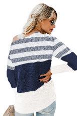 Hvit fargeblokk stripete strikket topp