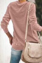 Pink Crewneck Langærmet Casual Effektiv Sweatshirt