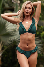 Green Ruffle Bikini Swimsuit
