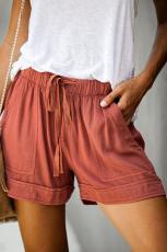 Orange streber med lommer i tencel Shorts