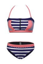 Pink Patch Striped Bustier Bikini badedrakt