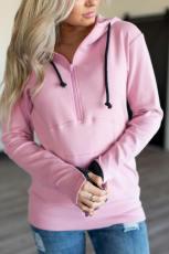 Ροζ μισο-φερμουάρ ντυμένο Hoodie
