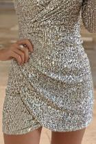 لباس نقره ای Surquice Ruched Sequin Bodycon