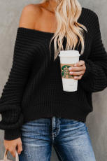 Black Carry On Knit V Neck Pullover Sweater
