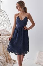 Blå heklet blonder Midi festkjole