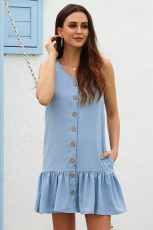 Sage Blue Pocketed Button Down Tank kjole