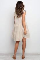Beige kort flisset erme V-hals kjededobbelt sammensatt kjole