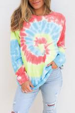 Himmelblå Ombre Tie Dye Loose Leisure Sweatshirt