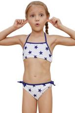 Halter Boyun Mavi Yıldız Baskı Beyaz Çocuk Kız Bikini Mayo