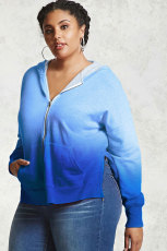 Blue Plus Size Ombre Terry Hoodie