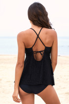 Black Cross Strap Tankini Set