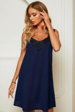 Azul V Neck Lace ombro Mini vestido sem mangas