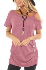 Rochie roz Sling cu mânecă scurtă cu buton casual