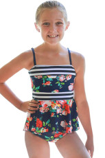 Blå Navy Floral Print Peplum Little Girls badedrakt