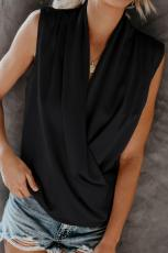 Sort fortryllende Satin Drape Tank Top