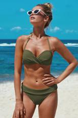 Vihreä Halter Twist Vohveli Bikinit