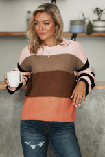 Brun Crew Neck Color Block Oversized Pullover Strikket genser