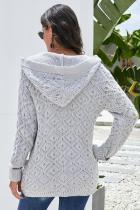Cardigan con cappuccio lavorato a maglia grigio