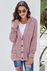 Cardigan con cappuccio in maglia rosa