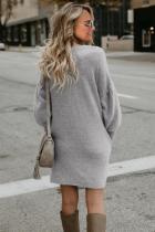 Grå efterår vinter lang lanterne ærme Strikket sweatshirt kjole