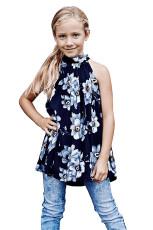 Blå Little Girls Floral A-line Bluse