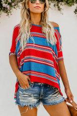 Rød blå hvit farge stripete trykk løs skjorte