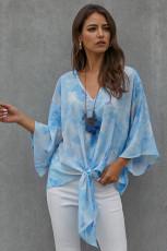 Himmelblå slips Dye V-hals top