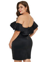 Černé vrstvené prohrábnout Off rameno Plus velikost šaty