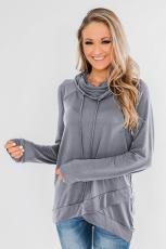 Grey Casual Cowl Neck Pullover Sweatshirt