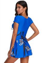 الأزرق المطبوعة قصيرة الأكمام ملابس السباحة مع بويشورت