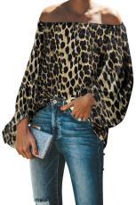 Leopard Print Elastisk hals off skulder top