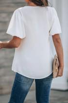 Bluză cu mânecă albă cu puf