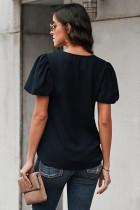 Bluză neagră cu mânecă puff