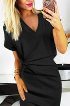 Μαύρο V Αντίστροφη εγκοπή Αντιστροφή πέλμα Bodycon Φόρεμα