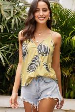 Желтая майка с принтом тропических растений