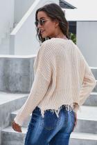 Aprikos Tainted Love Cotton Distressed Sweater