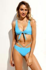 Vaaleansininen Brasilian sidottu Push Up Bikini-uimapuku