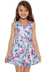 Sky Blue Floral Romper for Little Girls